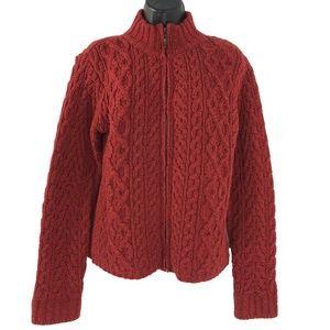 Inis Crafts Fisherman Sweater Merino Wool Full Zip